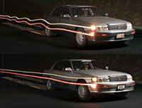 The Bose-equipped car (below) has farbetter body control than the standardcar (above).