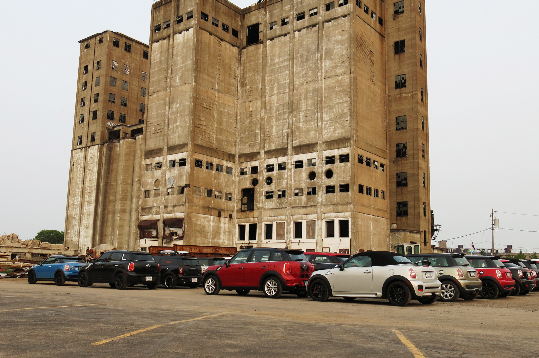 Parked for the British Invasion Party at the historic grain silos in Buffalo, NY.