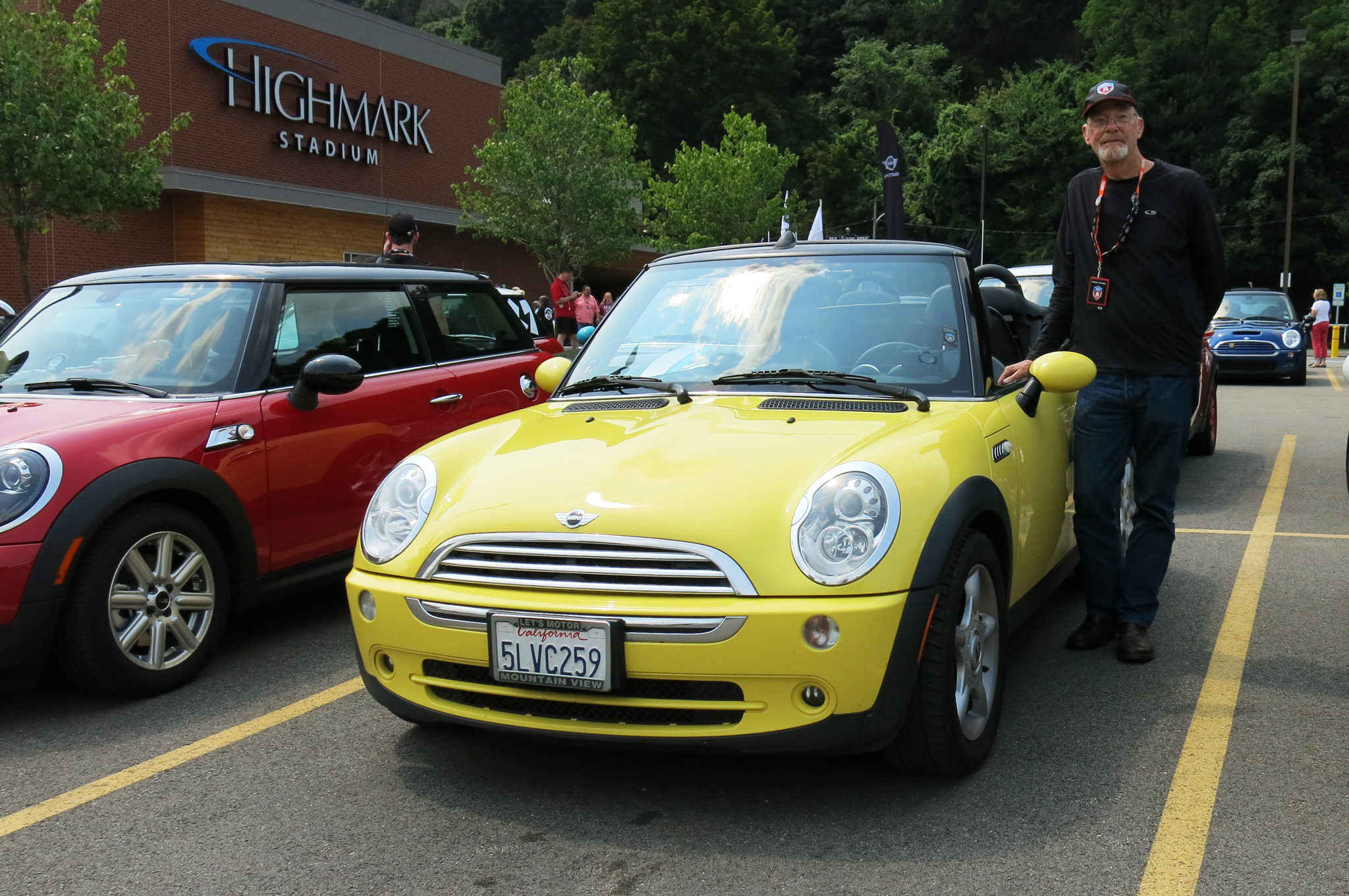 Dan Todd of Palo Alto, CA, and his Liquid Yellow 2002 Mini Cooper convertible. This is his second MTTS, but his first cross-country run. He also has a yellow 2005 Mini Cooper S that he takes to track days every now and then.