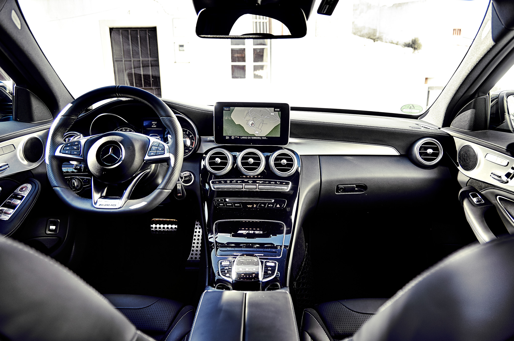 The C63's cockpit is more refined than the M3's, a trait that carries over to the entire driving experience.