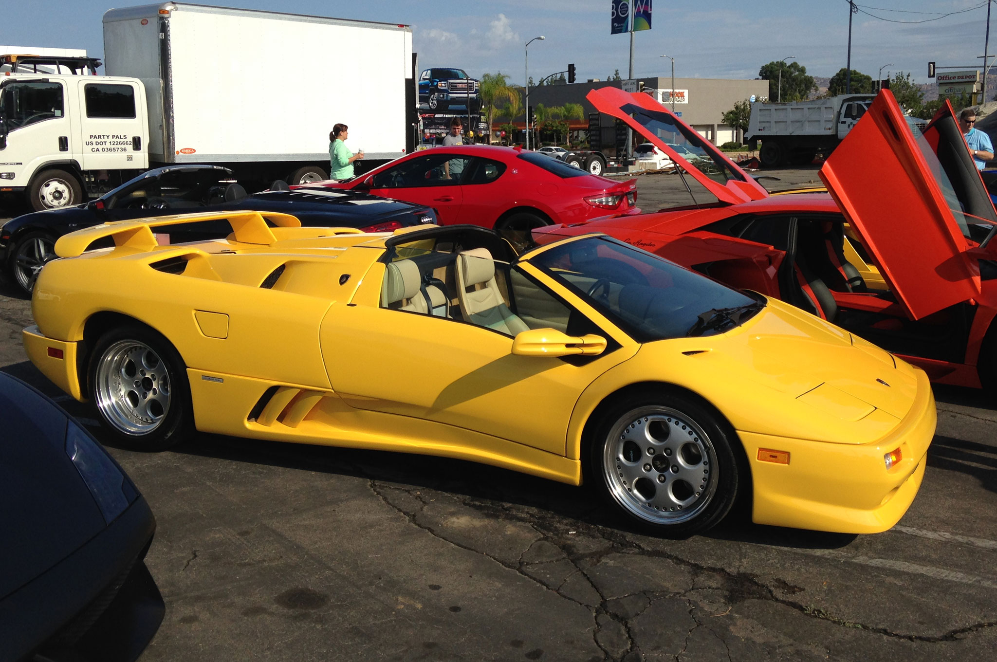 A Diablo VT Roadster, resplendent in one of about 20 different yellows Lamborghini offers. Only about 200 of these were built.
