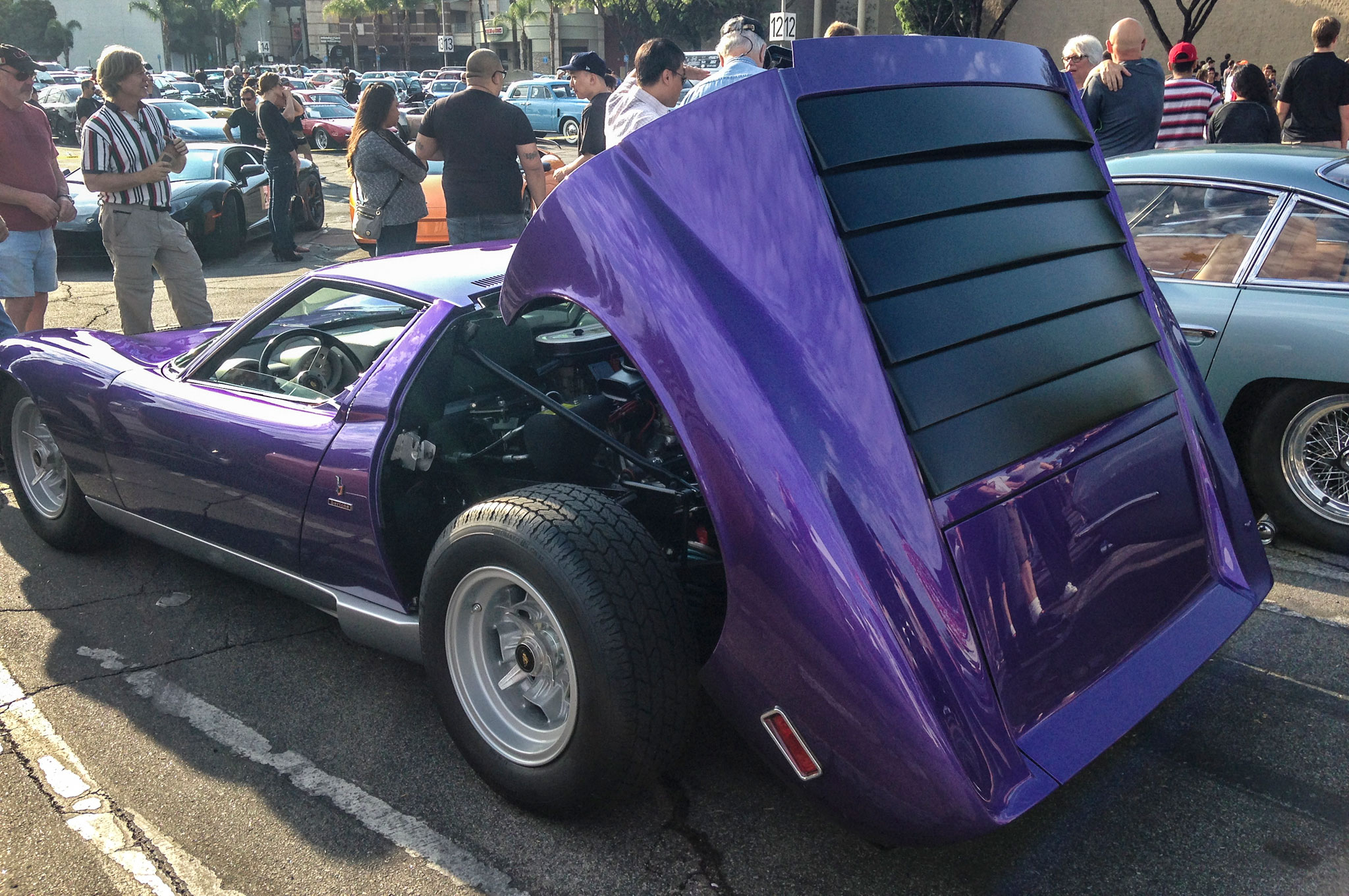 More shark than bull in appearance, the Miura retailed for about $20,000 new between 1966 and 1973. Though the Miura originally came in a rainbow of psychedelic hues, this purple looks to be a custom repaint.