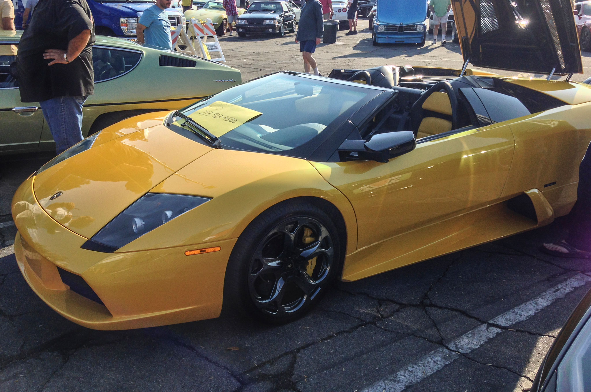 """A """"For Sale"""" sign can't match the pearlescent brilliance of this 2005 Murielago Roadster. Remember: If you have to ask the price, you can't afford it."""