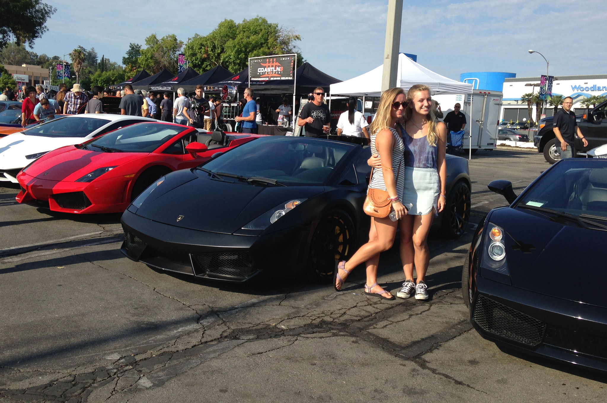 Perfect social network fodder: California summer vacation surrounded by Lamborghinis.