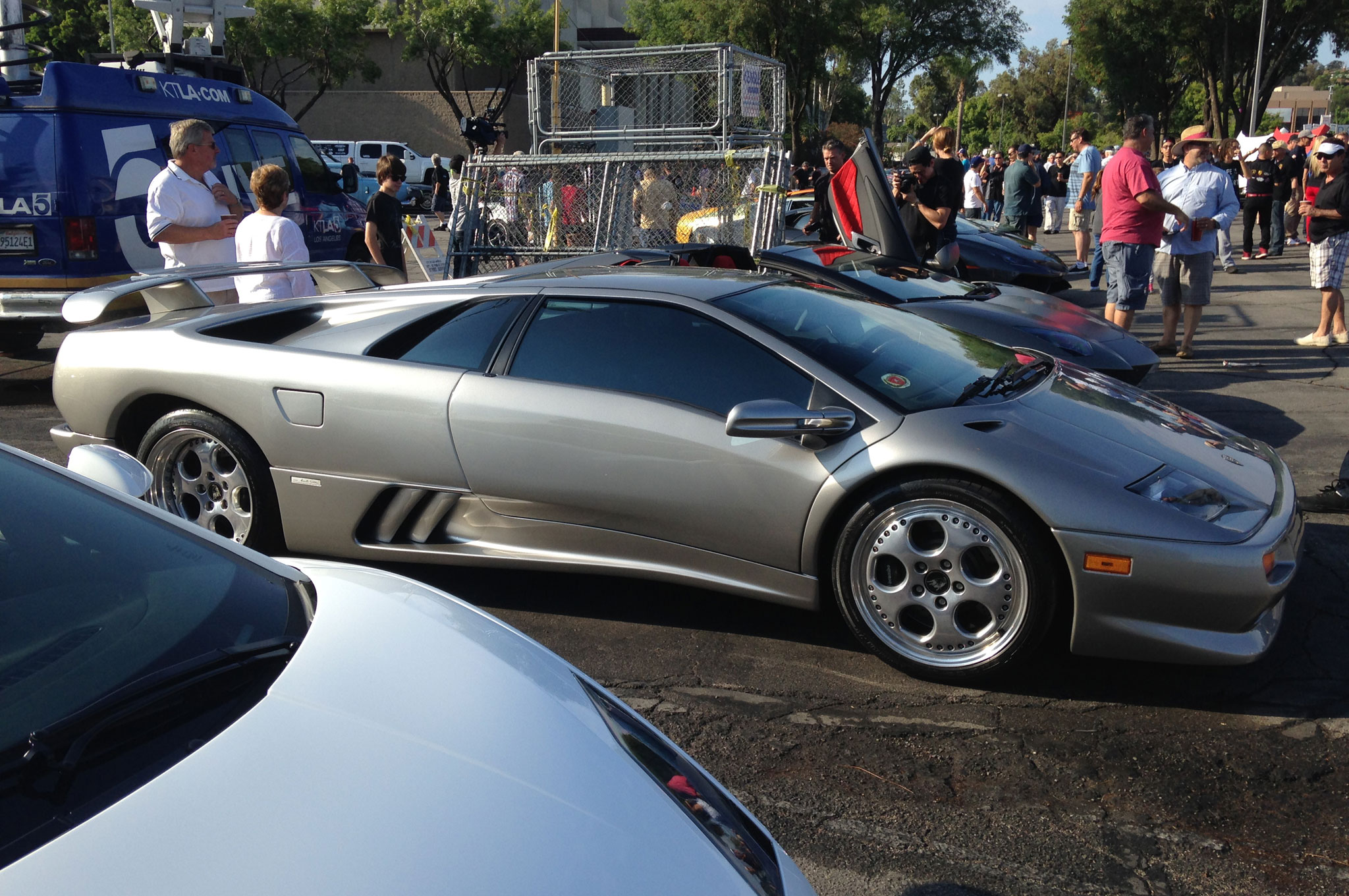 The Diablo VT is one of a few Lambos that are in the 200 mph-plus club. This one in silver looks fast standing still.