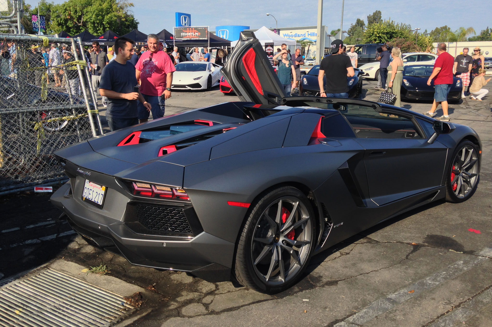 """The license plate on this Aventador LP 700-4 Roadster says what it does: """"Goes 217."""""""