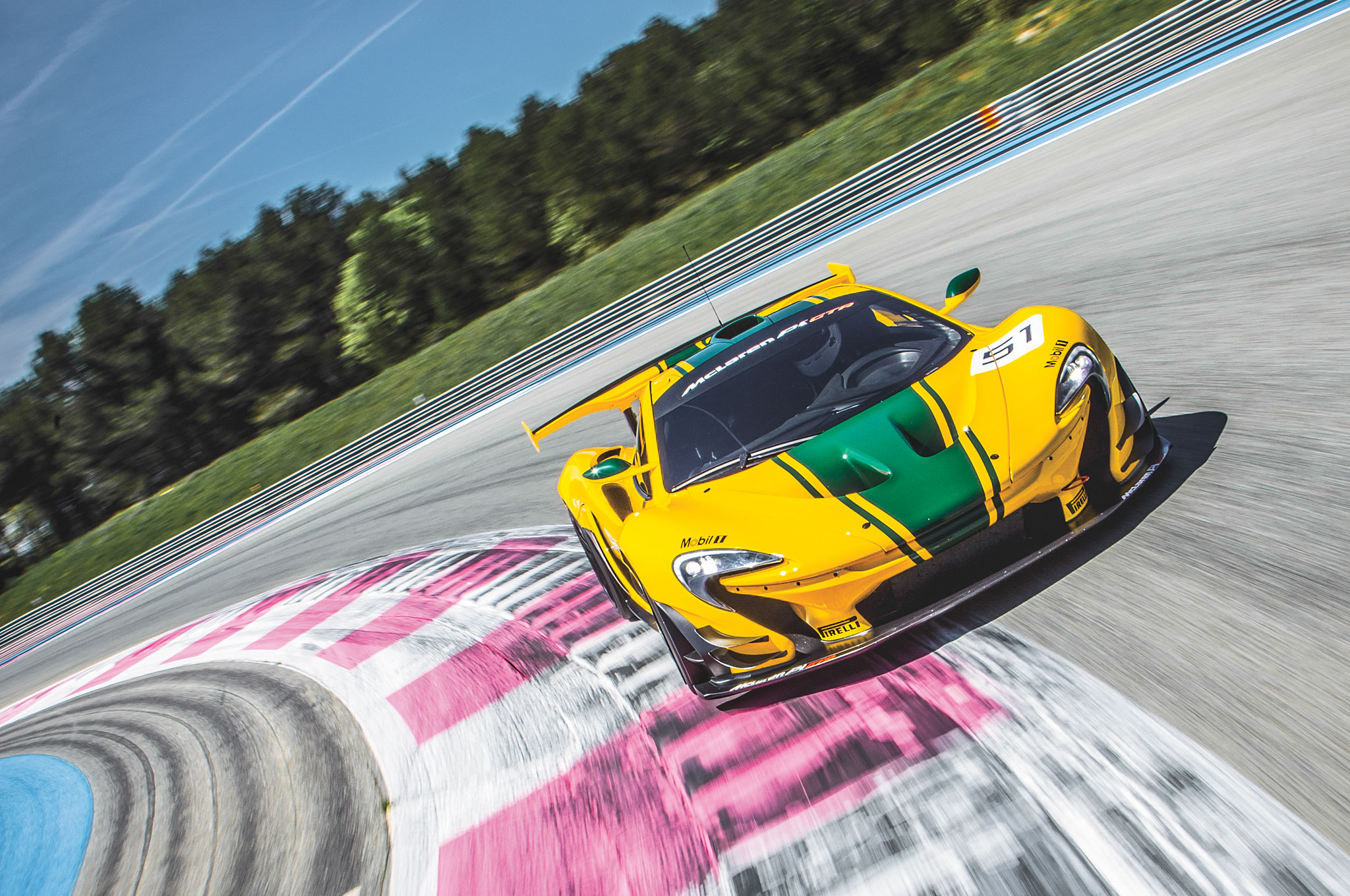 The 986-hp P1 GTR can easily outstrip race cars, as it proved at the Paul Ricard racetrack.