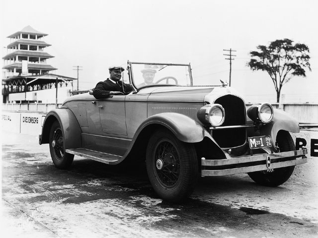 The '26 Imperial E-80 roadster was the first Chrysler Corporation passenger car to be an official pace car for the Indy 500 race. Louis Chevrolet was behind the wheel, while Walter P. Chrysler was present to promote the new Imperial series. Credit: IMSC.