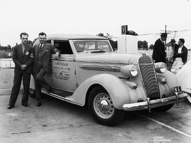 From 1933 through 1941, Chrysler regularly provided official cars to the Indy 500. The year 1936 huge, with the parent company supplying a pair of official cars, including this rare, Chrysler Airstream C-8 four-door convertible sedan. Credit: IMSC.