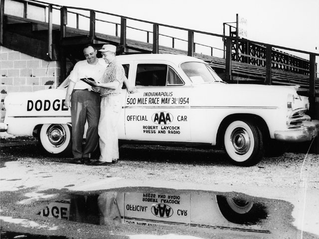 Dodge supplied the O.C. for the May 31, 1954 race, which was a '54 Dodge Royal V8 four-door sedan. In addition to the standard 150hp Red Ram V8 under the hood, a customer could order the optional two-speed PowerFlite automatic transmission. Credit: IMSC.