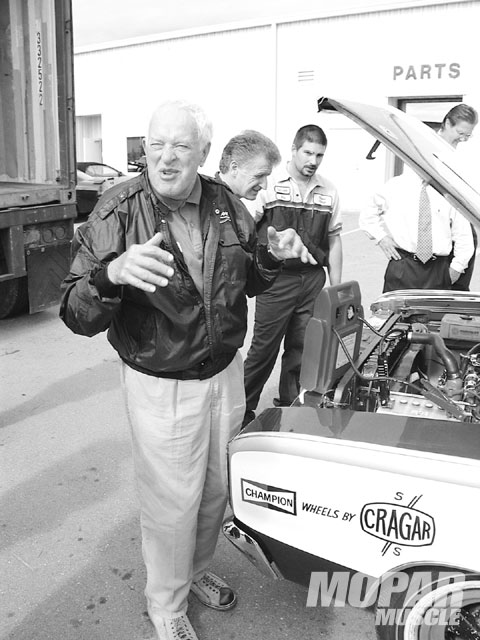 Everyone was all smiles as that big Hemi motor came to life. As noted by the lettering shown on the front quarter panel, Al has restored the car to its original as-toured paint.