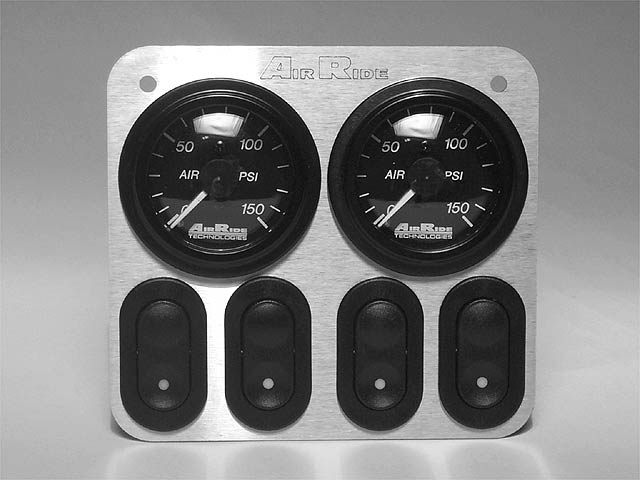 Another control panel variation from Air Ride Technologies features a switch for each bag and a pair of pressure gauges, each with dual indicators.