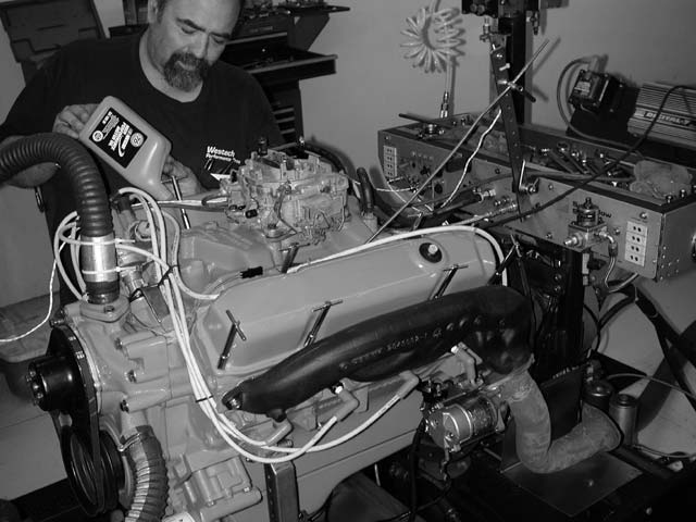 02. For our baseline runs, the engine was fitted with the stock 383 AVS carb, iron intake, and iron exhaust manifolds with 2.5-inch extension pipes at the flange. Rick Stoner of Westech filled the crankcase with 10W-30 Unocal oil, and it was ready to fire. Stock, the 383 just nudged over its rating, delivering a respectable 338 hp.
