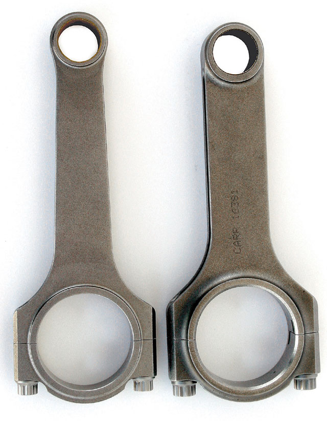 These days you'll rarely see a serious small-block Chevy race rod that's shorter than 6.0 inches (right). In fact, it's not uncommon to see 6.3-inch or even longer rod lengths on the superspeedway these days, combined with downsized (from standard production) rod journals and piston pinholes (left).