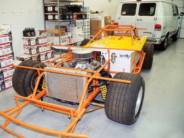 Our installation car is a new dirt Late Model chassis that has already been outfitted with all the necessary hardware except sheetemetal.