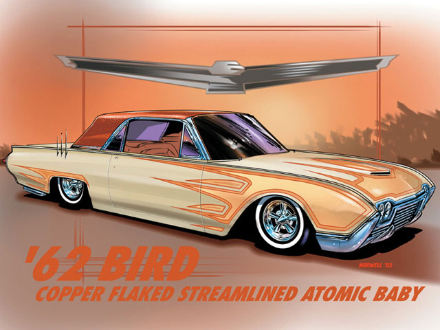 Now this one looks familiar (It is based on a car owned by the author). Bullet 'Birds have pretty wild styling right from the factory, so Jeff emphasized the look with an even wilder paint job. The car has been slammed with cut springs in front and de-arched leafs in back, and it could ride on either Astro Supremes or chrome reverse wheels with spider caps. The faux hood scoop was made functional up front, while triple frenched antennas, Caddy bullet taillights, and Bellflower tips dress up the rear. Stock Butternut Yellow paint has been complemented with two-tone scallops that are Candy Metallic Tangerine on the inside surrounded by a heavy copper 'flake border. The same copper 'flake coats the roof, and an Indian Red interior sets things off.