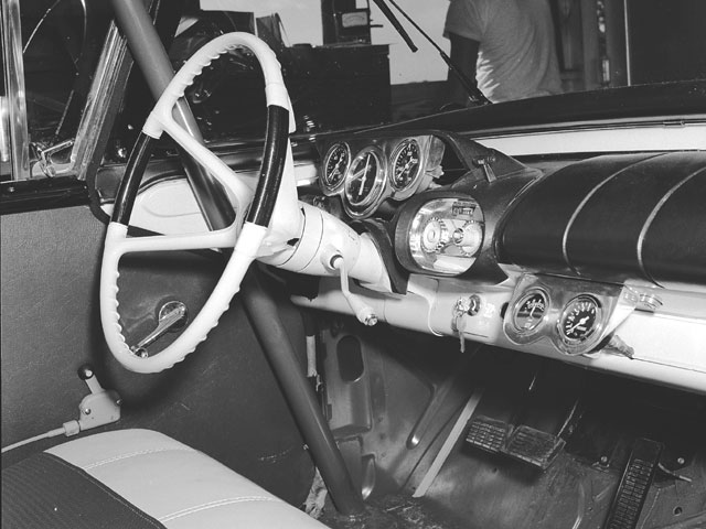 Taken at Daytona 1957, this interior shot reveals just how stock these cars actually were--see the key ring in the ignition?