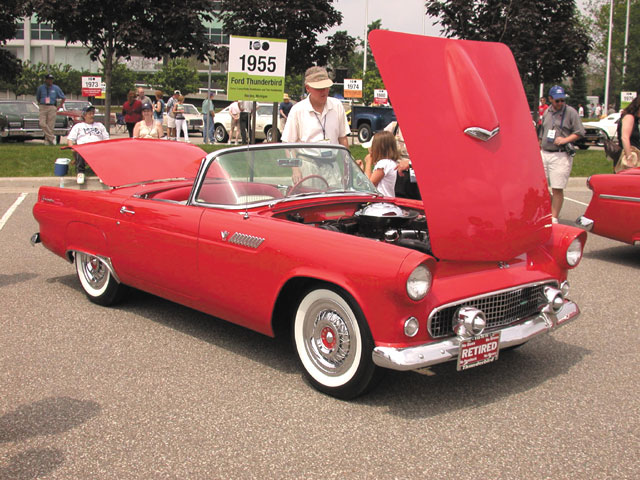 1955: Aimed at Chevy's Corvette, the '55 Thunderbird has become one of the era's styling icons.