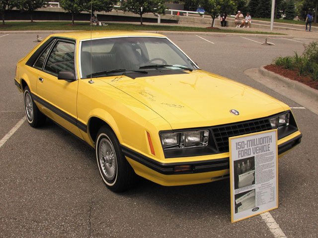 1979: Fittingly, the 150 millionth vehicle built by Ford, the total was now expanded to include trucks, tractors, and just about anything else with wheels, was a new-for-'79 Fox-body Mustang, a basic design that's still in production.