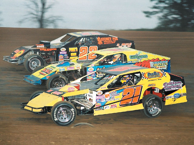 Fox Ridge Speedway in Arcadia, Wisconsin, is one of the newest tracks in the WISSOTA family. Joey Jensen (21), Paul Harelstad (1), and Jeff Spacek (22) show what the Modifieds can do at the fast 3/8-mile oval.