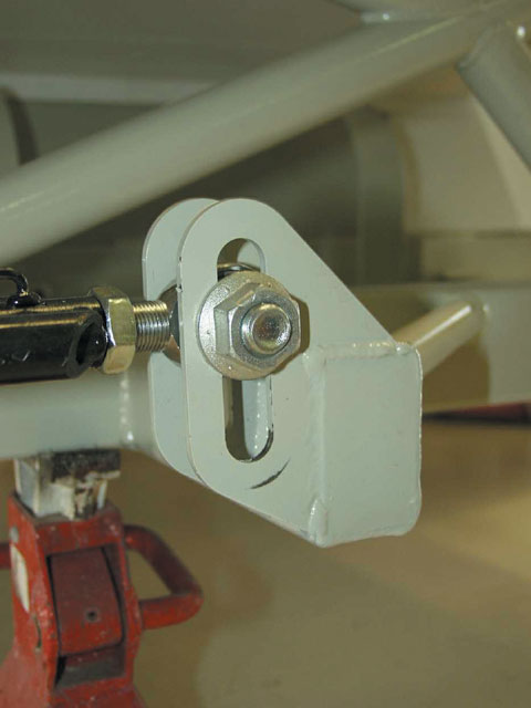 The front mounting bracket on a three-link rear suspension is adjustable to allow the team to change the angle of the trailing arm. The driver can feel small changes to the height of the front of the trailing arm.