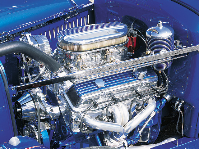Edelbrock sells complete crate engines that you can drop straight into your ride. This one is a Performer RPM 350 (based on a ZZ4 short-block). Besides aluminum heads and water pump, the V-8 also boasts 410 hp on the dyno. Sanderson headers exit the spent gasses through ceramic-coated 2.125-inch exhaust tubing, and the twin 500-cfm Edelbrock carbs breathe through a MoonEyes air cleaner.
