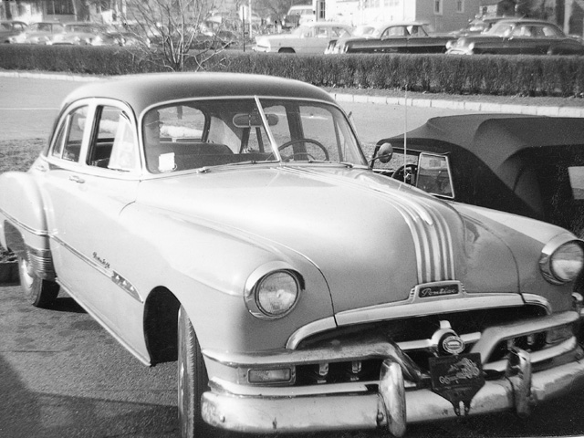 Schorr's first Pontiac--a hand-me-down '51 Pontiac 8 sedan used in racing sports car rallys in 1956.