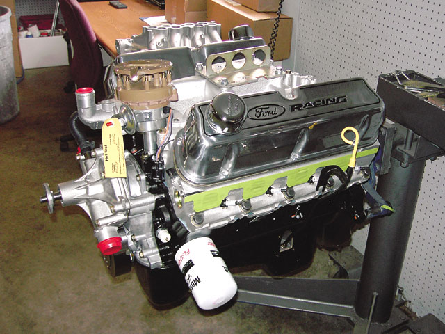 Ford Racing supplied the 351ci, 360hp, aluminum-headed GT-40 crate motor for the eBay Motors FastForward Fastback. It came complete with a dual-plane intake, electronic ignition distributor, and a water pump.