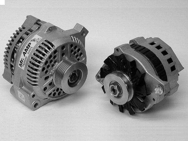 Late-model alternators like these smaller, more compact units are the hot ticket to creating sufficient amperage to run all those hungry electrical accessories. Late-model alternators are designed to create very close to maximum output at very low engine speeds.