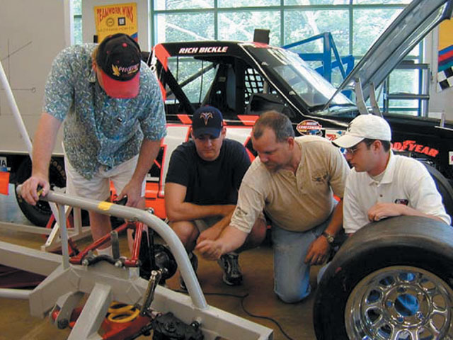 Students at the RCCC learn the details of race car chassis design from experienced instructors. The student who completes programs such as these will become a valuable asset to the professional race team market.