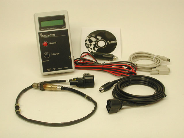 This is the LM-1 kit supplied by Innovate Technology. The digital meter box is supplied with a fresh 9-volt and also comes with a cigarette lighter source that supplies the power for the heater portion of the sensor. The kit also comes with a 10-foot serial cable to connect the LM-1 to your laptop to download recorded data.