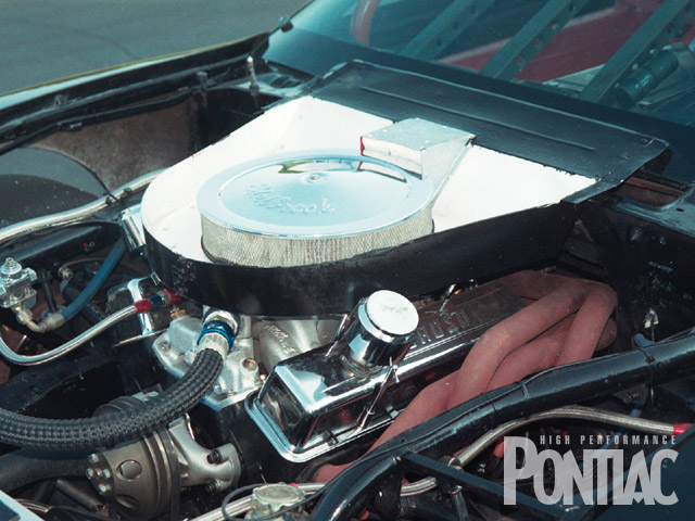 Though hardcore Pontiac fans might cringe at the use of a Chevy engine, it is the legal engine for this car and the logical choice for cheap, easy-to-service power. The small-block displaces 350 hp and kicks out an impressive 447 hp.