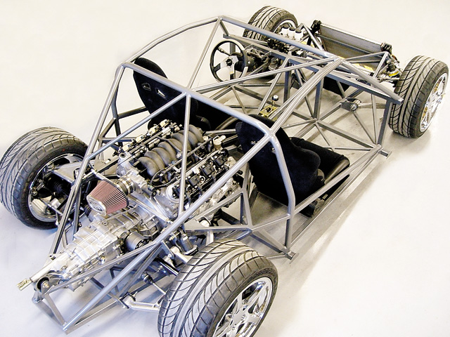 The newly engineered chassis is a departure for FFR and its mid-engine design fare is different from its Cobra frames.