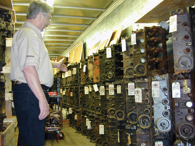 As Ken showed us, this is a literal armory of potential Mopar engines, all of which had been given basic approval before being stacked against the wall. Like the Marines, however, not all will make the final cut, as they will be pressure- and sonic-tested for cylinder-wall thickness and core strength before ever being selected for stroker use (or any buildup at Hensley's for that matter).