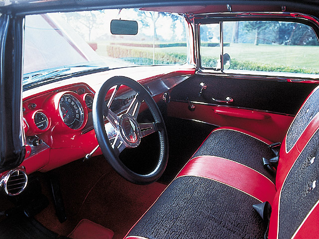 The interior on the '57 is fashioned in red and black; it happens to be Bon Jovi's favorite part of the car.