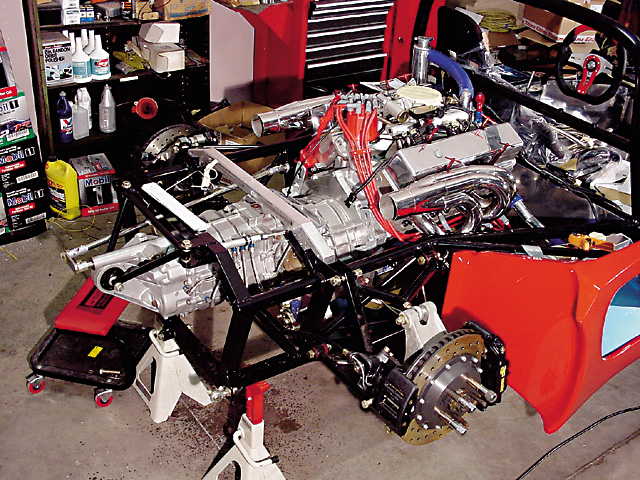 A Porsche G50 transaxle transmits the estimated 500 hp that Rosen's '72 GM 350ci engine will produce.