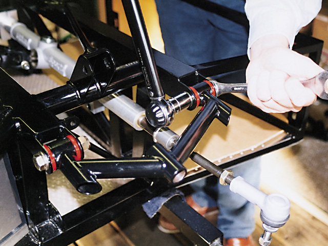 TIG-welded wishbones are mounted on the chassis using urethane bushes. A fully rose-jointed option is available, but for road and most track use the standard setup is formidable.