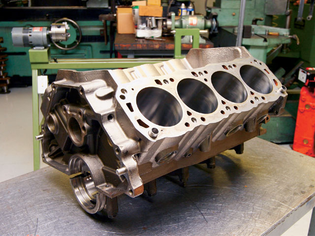 The foundation for this engine is Ford's 351ci Sportsman II wet sump block. It was chosen because it is an economical casting that still features a high-strength design perfect for medium-horsepower racing motors. It uses two-bolt mains with nodular iron caps. The bores are non-siamesed for better cooling, and the main journals are 3 inches.