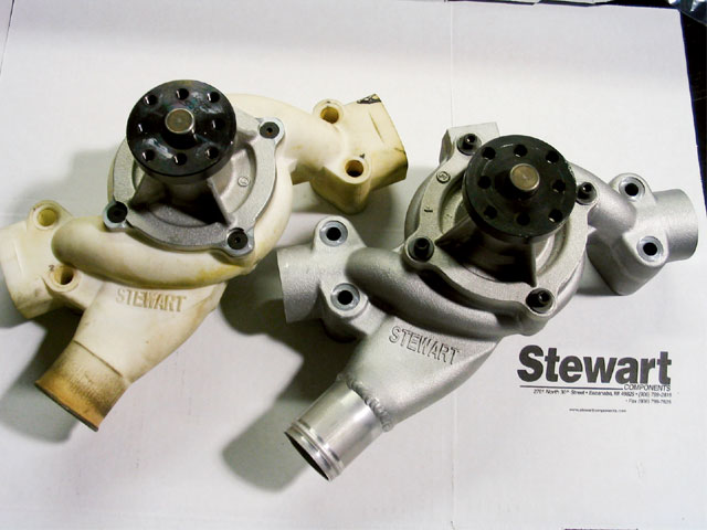 In 2004, EMP Stewart Components will introduce new Pro Series Ford and Chevrolet pumps. Here, the DTM plastic version that was used in the testing of the Ford pump (left) is compared to the final aluminum cast pump.