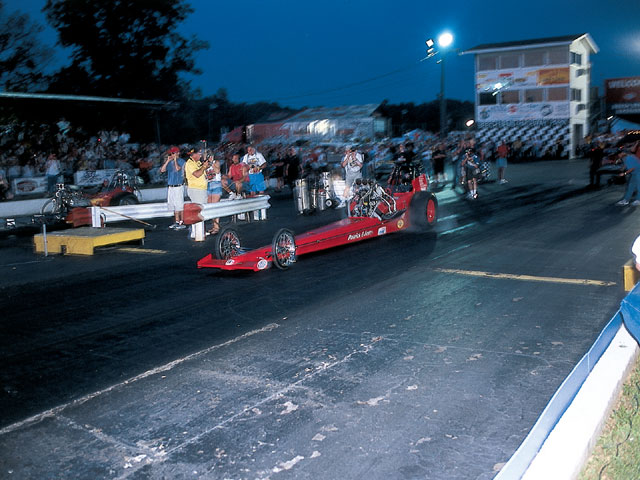 Side-by-side nighttime AA/FD pairings are a featured attraction at both NHRA retro shows.