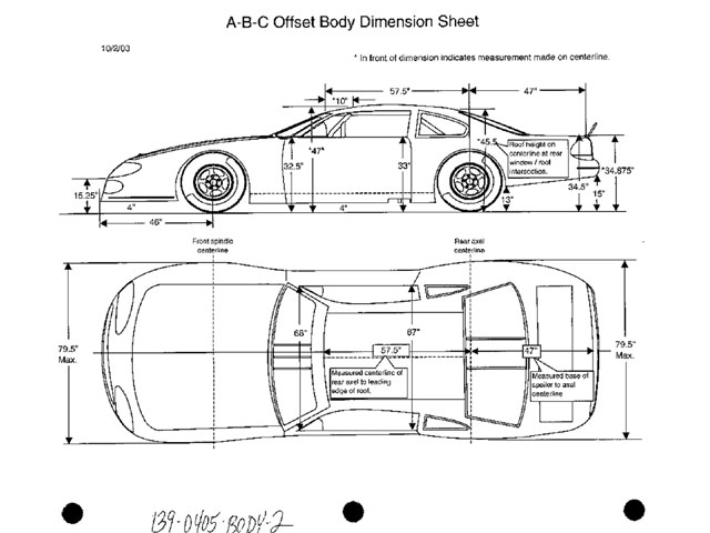The body dimension sheet will be easy to follow. Racers and tech inspectors will find their jobs a little easier.