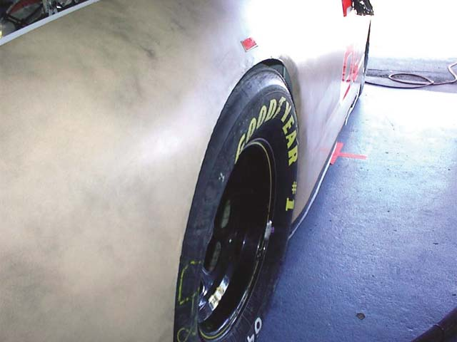 The static left-front wheel camber used on ultra-high banked tracks isusually very high, in the 4-5 degree range, due to the extreme amount ofcamber loss due to chassis dive. These cars roll very little andcompress up to 4 inches or more at tracks like Daytona. There are somevery high-banked dirt and asphalt short tracks where a similar situationexists.