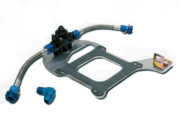 Companies such as Edelbrock offer fuel pressure regulator kits. The Edelbrock kit provides the fittings, mounting plate, fuel line, regulator, and has a wide pressure range for many applications.