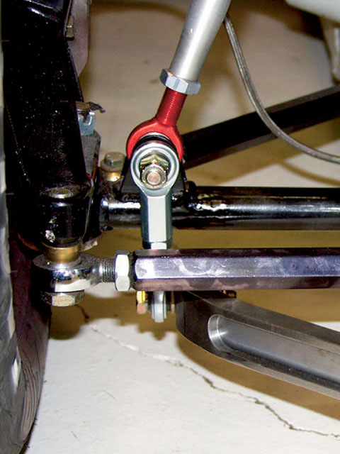 When attaching a sway bar arm to the lower control arm, always make sure the link is at right angles to the arm and the lower control arm. This relationship is important as viewed from both the front and the side. If we have angle in the link, a bind will occur that will tend to increase the rate felt by the suspension.