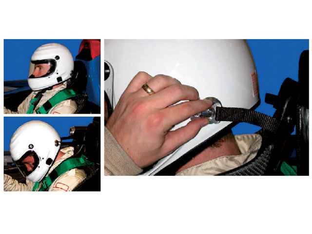 In this series of pictures, the helmet is attached to the HANS(r) yoke. While there is still forward straight line movement, the rotation is reduced. The helmet is attached with no reduction in visibility. The attached tethers provide mobility.
