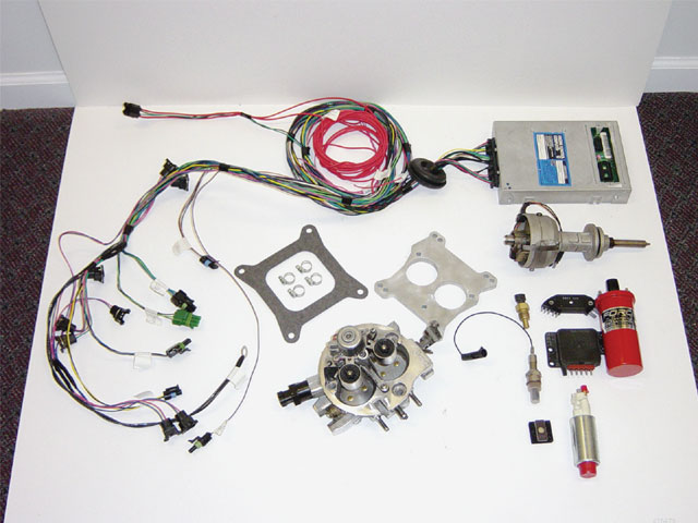 All the parts required for the retro fit from Performance Injection Equipment are included in the kit. While these kits are not designed for high-horsepower applications, they are just the ticket for stock-style drivers.