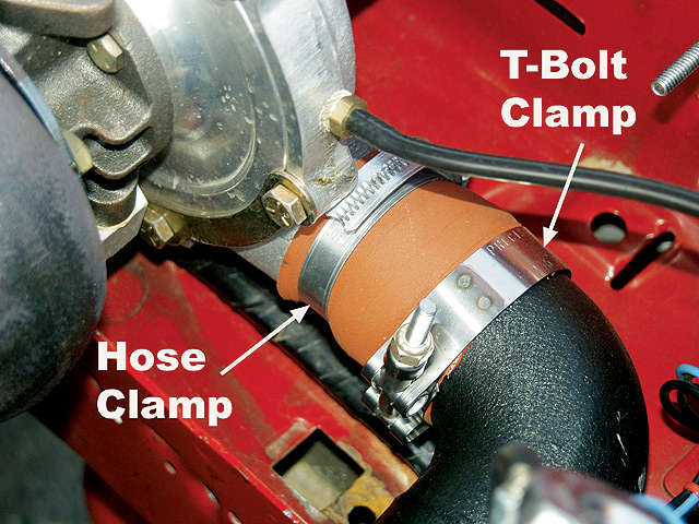 One of the first problems we had with the car came was blowing off the tube between the discharge side of the turbo and the front-mount intercooler. Replacing the standard hose clamp with a heavier duty T-bolt clamp solved that problem right away.