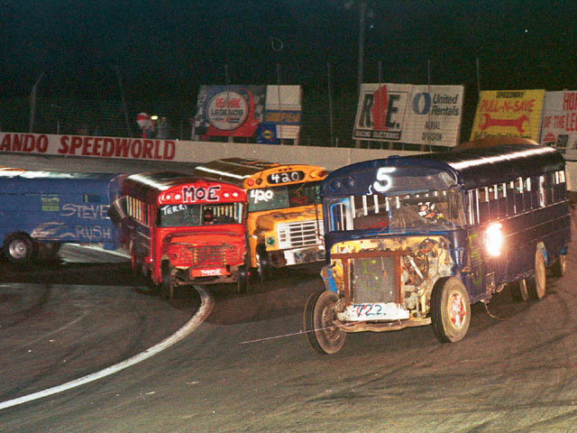 Most of the buses were veterans of previous races as evidenced by the battle scars. This is Steven Cole Smith in the No. 5. The front end was off the bus before he got it.