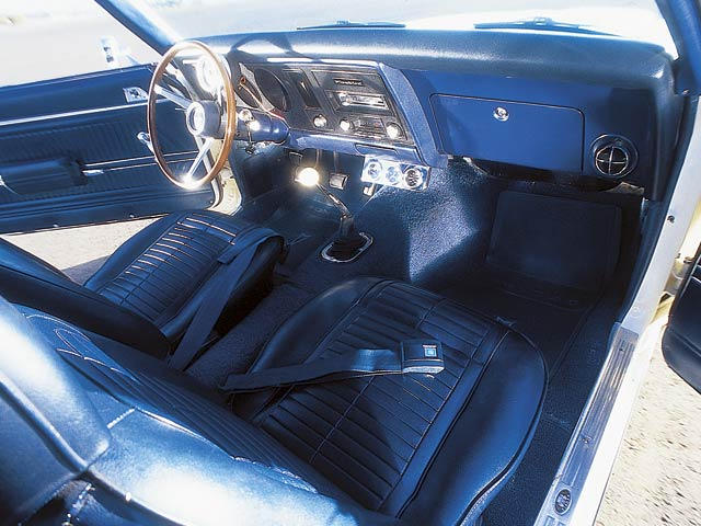 Comfort options in this T/A are limited to Custom Sports steering wheel (wood-appearing plastic wheel), remote mirror, and AM/FM stereo. Stewart Warner dials count revs and monitor engine vitals.