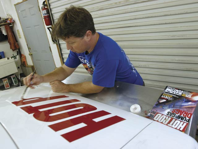 Luke Scanlan, who often letters cars for the Garlits Museum, handpainted the HRM logos and added the first HOT ROD Magazine Spl. lettering to appear on a Bonneville car since Suddenly in 1957.